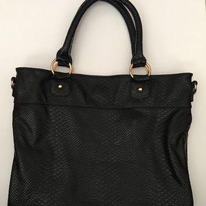 Deux Lux Black White Snakeskin Tote Handbag